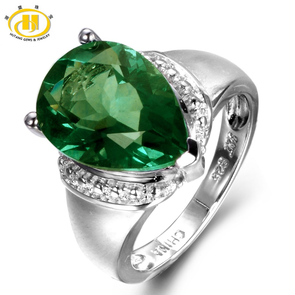 Hutang 6 21ct Genuine Green Fluorite Gemstone Solid 925 Sterling Silver Solitaire font b Ring b