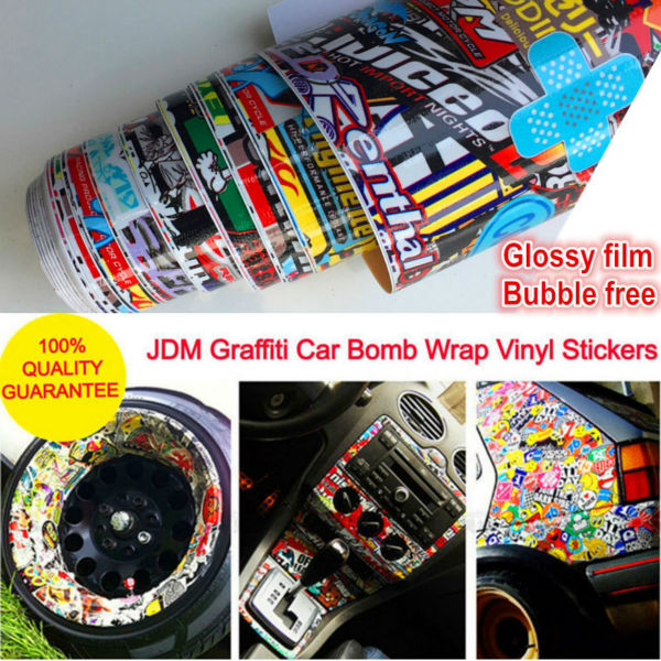 Glossy vinyl car stickers and decals jdm graffiti sticker bomb wrap roll on motorcycle car styling for bmw vw ford toyota honda in car stickers from