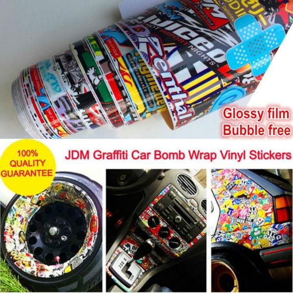 პრიალა ვინილის მანქანის სტიკერები და დეკორაციები JDM Graffiti სტიკერი Bomb Wrap Roll on Motorcycle Car Style for BMW VW Ford Toyota Honda