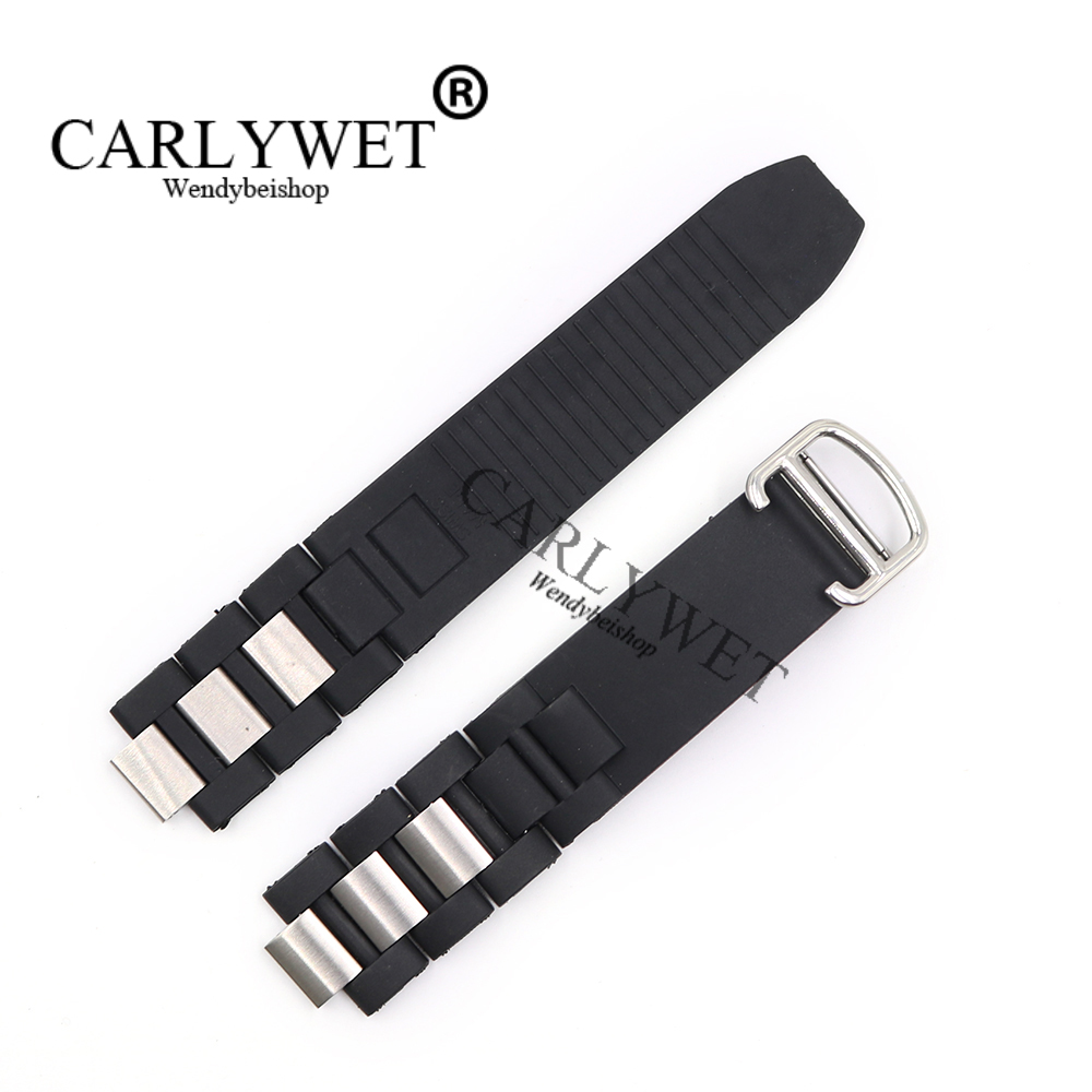 CARLYWET 20mm*10mm Black Replacement Silicone Rubber Watch Band For Cartier 21 Chronoscaph W10198U2 W10125U2 W10197U2 W10184U2
