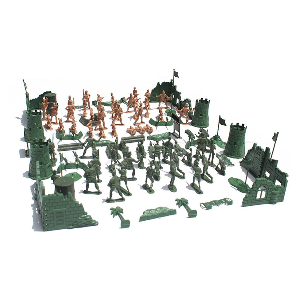Mxfans Plastic Green Light Pink Military Playset Toy Soldier Army Men Playset Kit Action <font><b>Figures</b></font> and Accessories Pack of <font><b>118</b></font> image