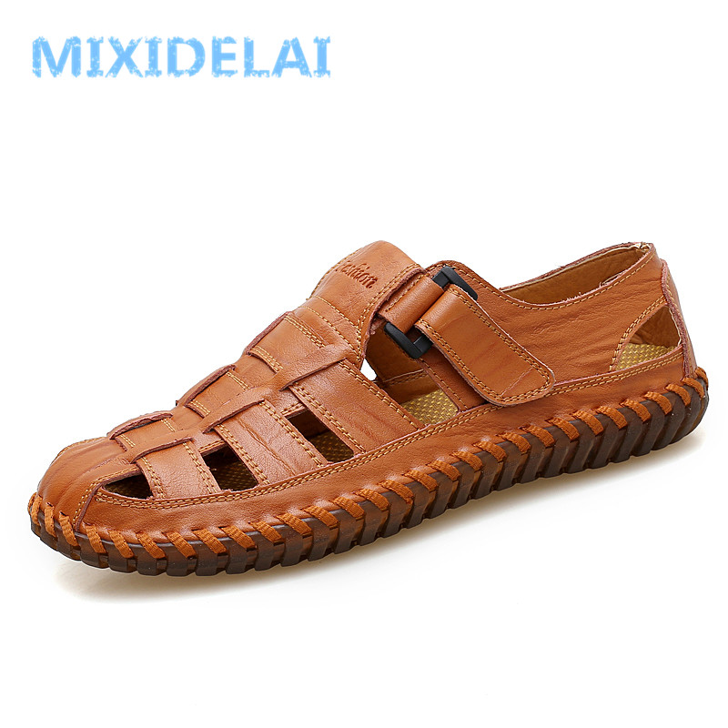 все цены на MIXIDELAI Summer Men Sandals 2018 Leisure Beach Men Shoes High Quality Genuine Leather Sandals The Men's Sandals Big size 39-47 онлайн
