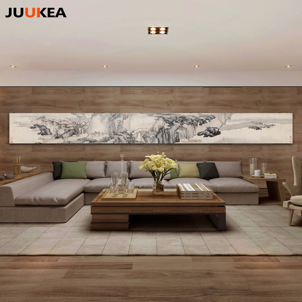 Canvas Print Painting Art Strip Type Chinese Ink Painting Landscape in Asia Vintage Huge Size Wall