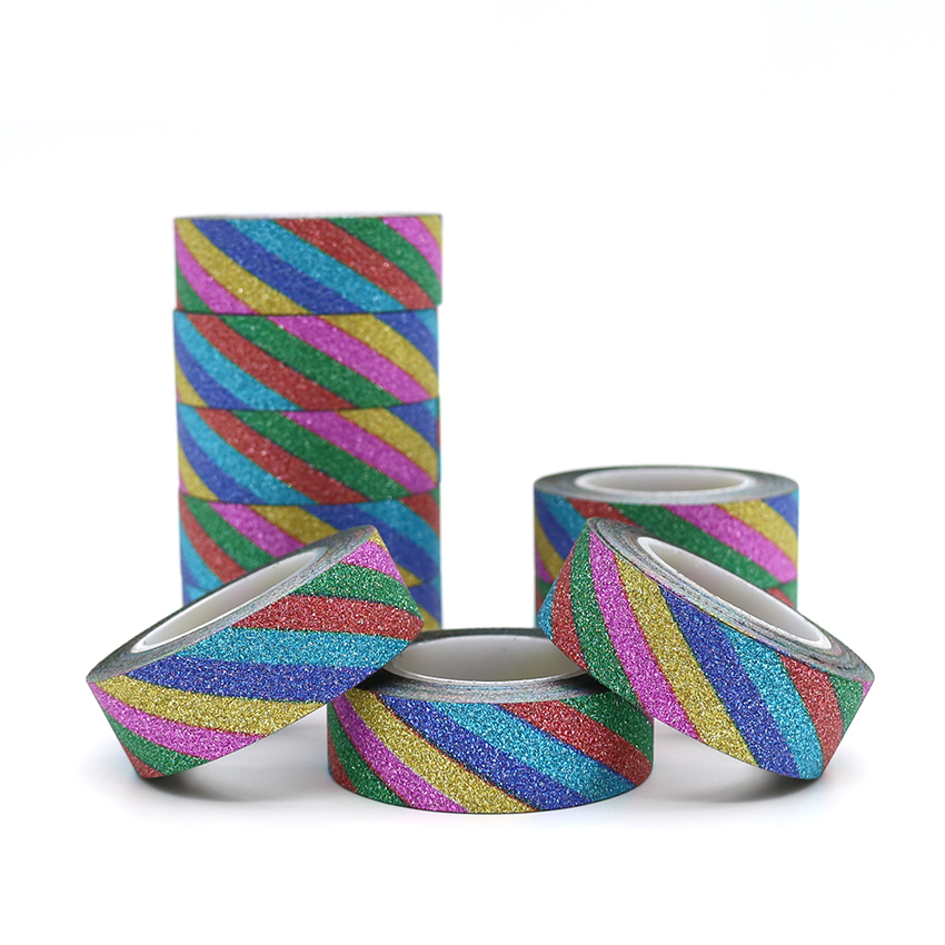 10m*15mm Creative Colorful Color Washi Tape Glitter Flash Stickers Album Decoration Adhesive Hand Account Tape Masking Tape 1PCS