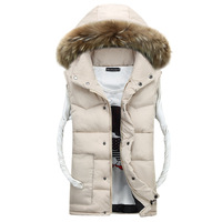 Hooded Cotton Vest Man Artificial Fur Collar Men S Clothing Outerwear Mens Sleeveless Jackets Coats Thickening