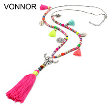 New Arrivals Woman's Statement Necklace Bohemian Colorful Beads Turquoise Shell Tassel Pendant Long Necklace for Dress Female stylish faux turquoise carving leaf tassel necklace for women