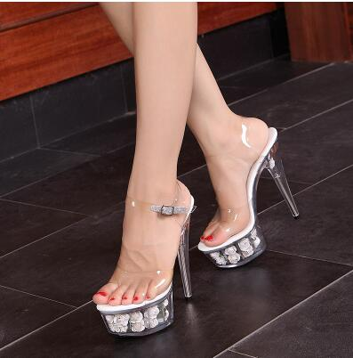 Steel Pipe Dance Shoes 2017 Crystal Transparent Sandals Waterproof Rose  Flowers Super High Heel 15cm Female Shoes Size 34 44-in High Heels from  Shoes on ... 399c693f1508