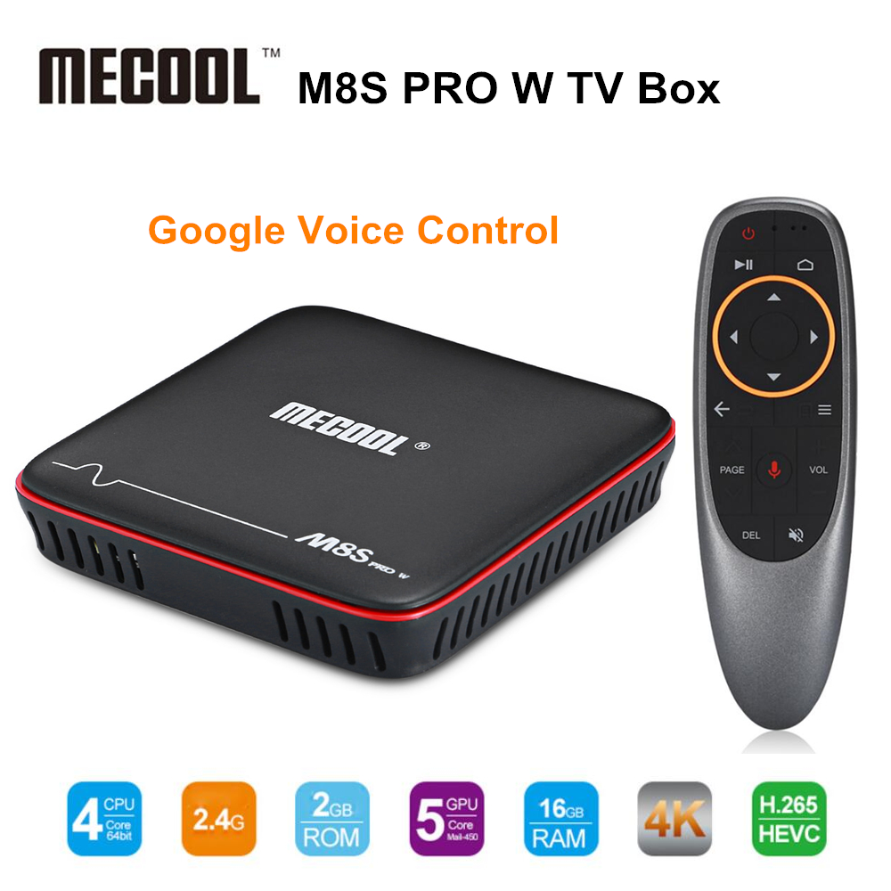 Mecool M8S PRO W 2.4g Controllo Vocale Smart TV Box Android 7.1.1 Amlogic S905W 2 gb di RAM 16 gb ROM Set Top Box H.265 4 k Media Player