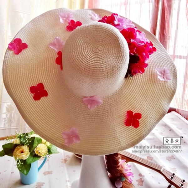 Femmes Fleur Soleil Chapeaux Pliable Paille été Plage Large Bord Floral élégant Cap