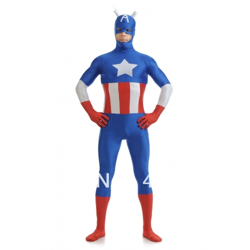 Blue & red & white spandex costume Captain America The Avengers Costumes Halloween Costumes