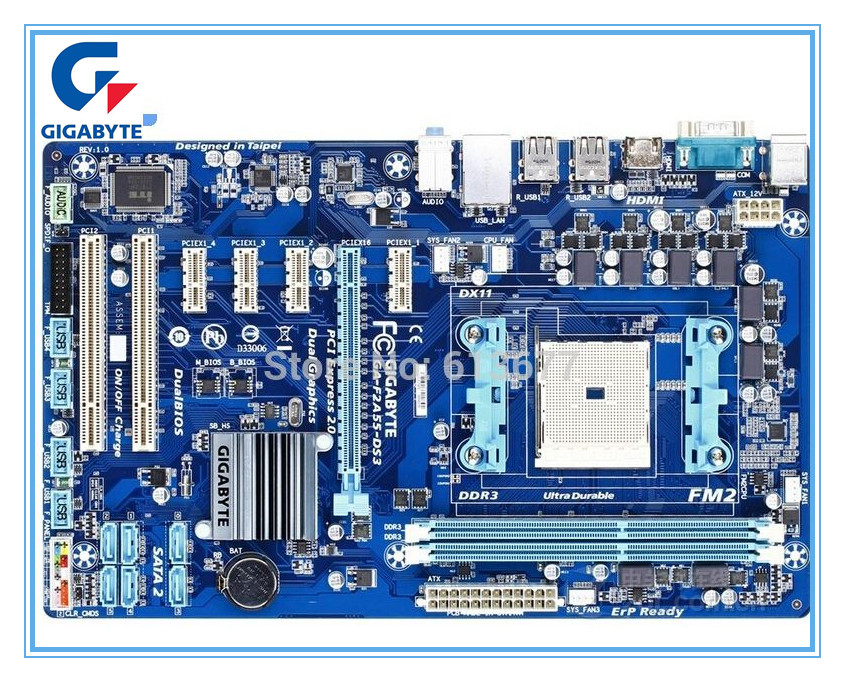 Gigabyte GA-F2A55-DS3 100% Original Used Motherboard DDR3 FM2 F2A55-DS3 Integrated Graphics Desktop Mainboard