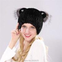 Fur hat mink hair cat ear diamonds hat lady hat winter warm hat