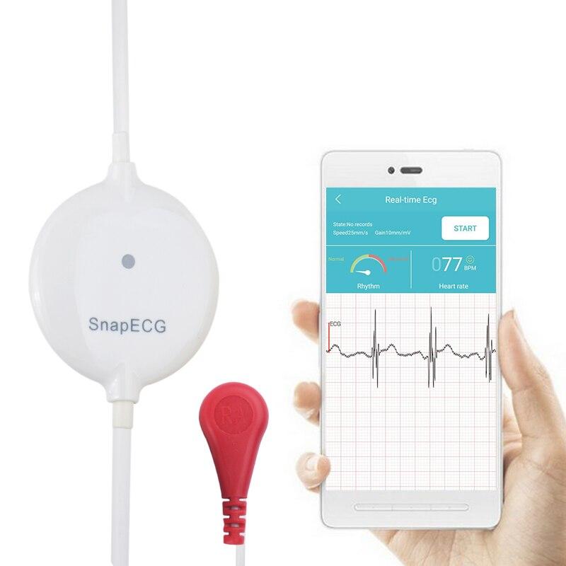 Monitor de ECG portátil Mini wearable Suporte do Eletrodo de Medição Máquina Real-time do coração Holter Para Android ou IOS de cuidados de Saúde
