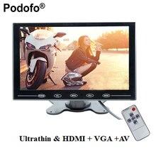 """Podofo 9 """"Monitor LCD TFT Mini Color de la Pantalla de Visualización Del Monitor Del Coche Del Monitor 2 de Entrada de Vídeo Para CCTV PC HDMI AV-In Monitor de seguridad"""