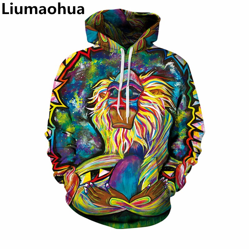 Systematic Liumaohua Women Mens Hoodies Fashion Brand Clothing 3d Digital Printing Retro Style Cartoon Monkey Loose Large Pullover Tops To Invigorate Health Effectively Men's Clothing