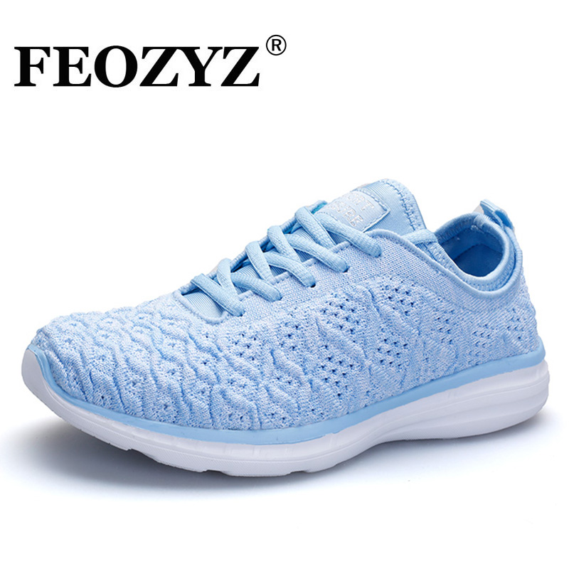FEOZYZ Lightweight Running Shoes Women Knit Breathable Womens Girl Sneakers Free Run Ladies Walking Shoes Sport Fitness Shoes kelme 2016 new children sport running shoes football boots synthetic leather broken nail kids skid wearable shoes breathable 49