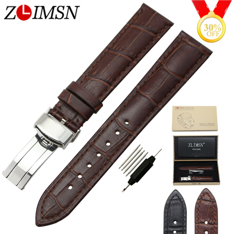 ZLIMSN Genuine Leather Watchband 18mm 20mm Black Brown Watch Band Strap Single Push Butterfly Buckle Clasp Relojes Hombre 2017 цена