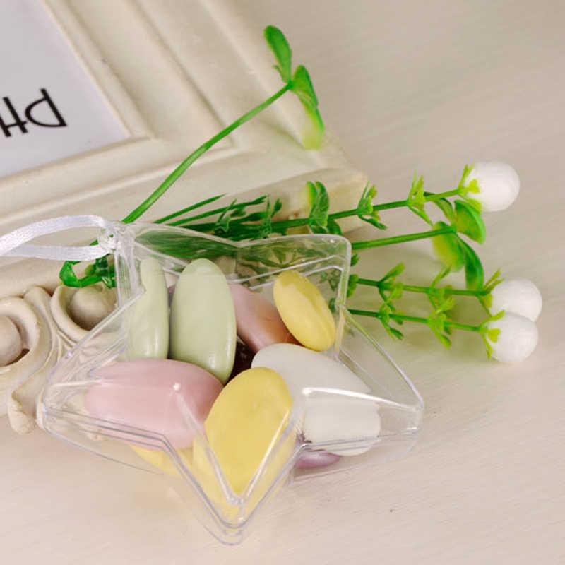 พลาสติกโปร่งใส Star รูปร่างดอกไม้พืชคอนเทนเนอร์งานแต่งงานหน้าแรกคริสต์มาสแขวนลูกอมกล่องตกแต่ง P30