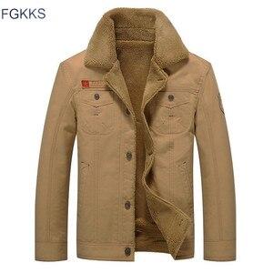 Image 3 - Fgkks 2020 男性ジャケットコート冬軍事爆撃機ジャケット男性 jaqueta masculina ファッションデニムジャケットメンズコート