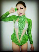 DJ зеленые кристаллы боди пикантные блестящие стрейч костюм Стразы Цельный Наряд производительность ночной клуб шоу вечерние Одежда для та