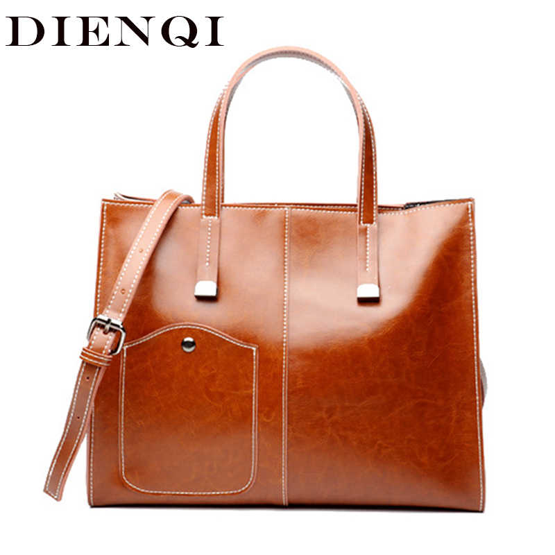 DIENQI Saffiano Luxury Women Genuine Leather Handbags New Arrivals 2018 Ladies Designer Top-handle Bags Female Party Handbags