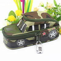 Vehicle Pencil Case Pen Pouch Bag With Combination Lock For Boys Double Zipper Camouflage Canvas Large