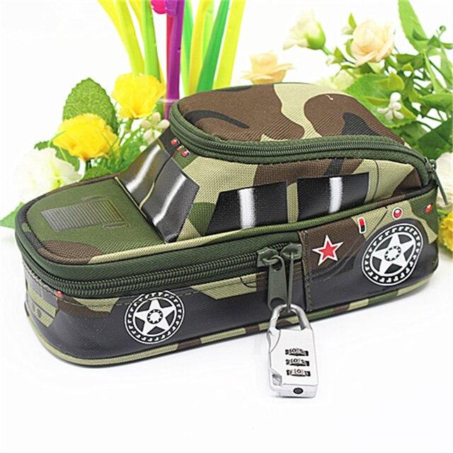 Пенал автомобиля ручка сумка с кодовым замком для мальчиков двойной молнией камуфляжная парусиновая большой милый школьный пенал