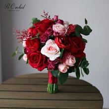 Péorchid rojo nupcial Ramo de flores rosa Vintage trowwboeket Rosa artificial Dama de Honor de boda de seda Ramo de Dama Honor