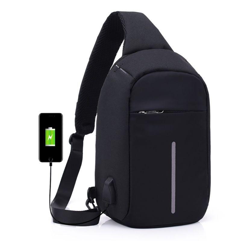 2018 Canvas Men Chest Packs Women Single Shoulder Strap Back Pouch USB Charge Crossbody Chest Packs Travel Chest Pouches Unisex