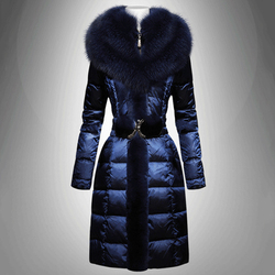 Most Discount Women Thickened Oversized Down Coat Warmly Coat Double Fox Fur Sashes Long Sleeve Female Coat Thickened Outerwear