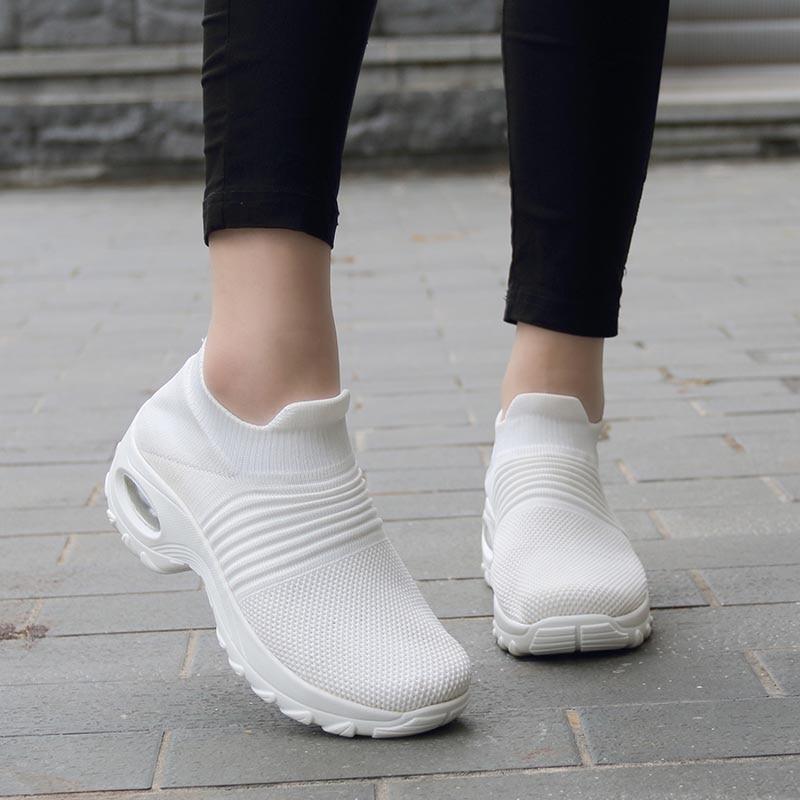 Womens Flats Slip On Shoes for Women Sock Sneakers Platform 2019 Comfortable Soft Ladies Spring Buty Damskie Sepatu Wanita Black 2