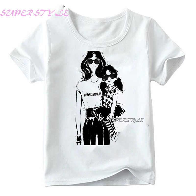משפחת התאמת תלבושות בת אמא בנות בגדי חולצה טי קוריאני אופנה Harajuku Kawaii לבן חולצת טי ילדים חולצה, dHKP180