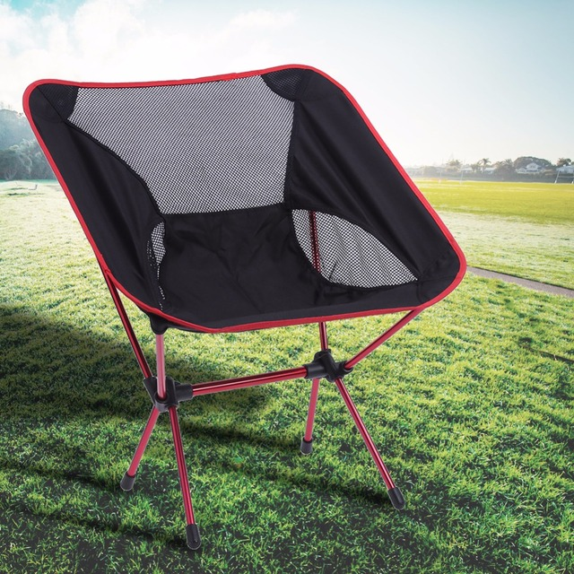2PCS Portable Folding Camping Chair Outdoor Fishing Seat Ultra Light Foldable  Chairs Seat For Fishing