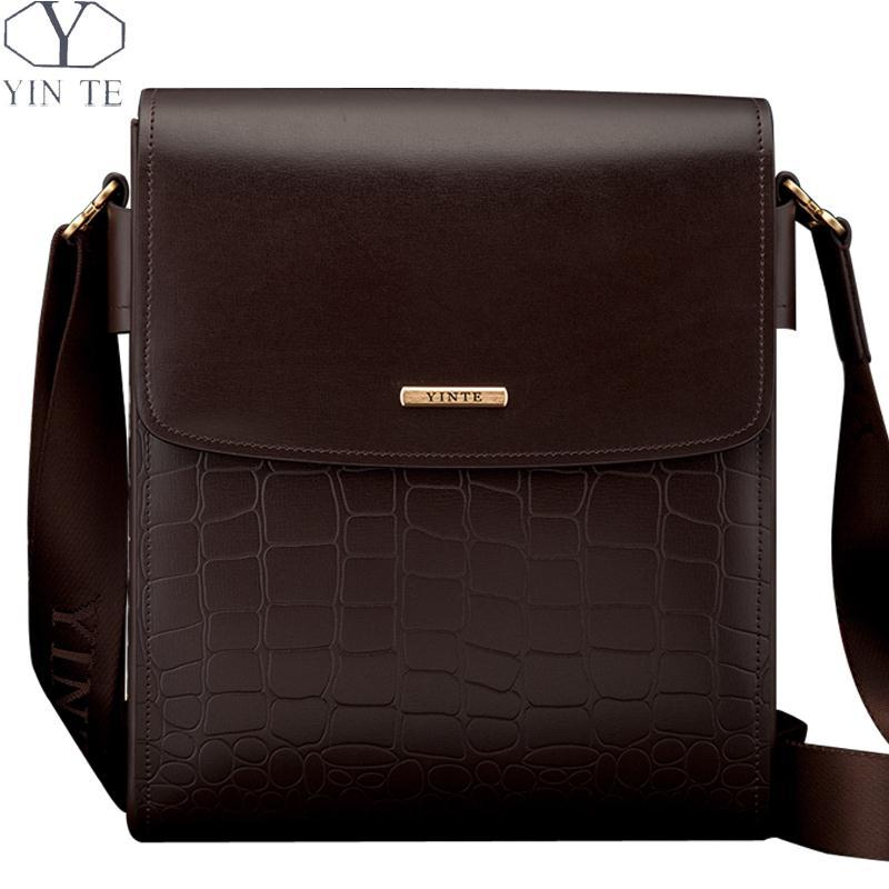 Yinte модные Для Мужчин's сумка кожаный Бизнес сумки коричневый Цвет Малый Crossbody Для мужчин портфель t8245 2