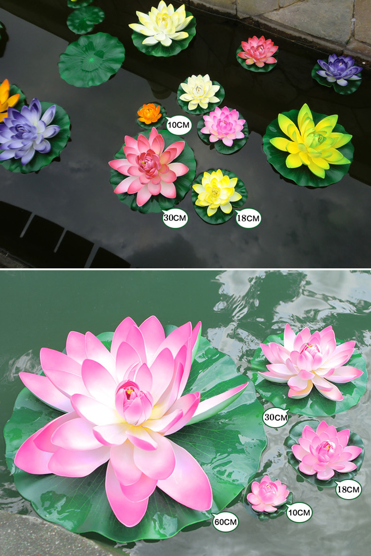 1pcs 28cm Artificial Lotus Flowers Water Lily Floating Pool Plants