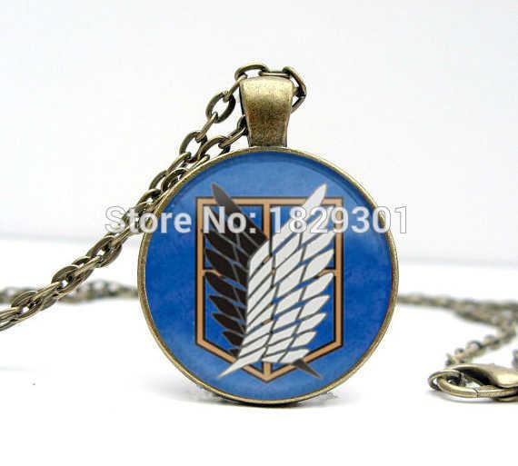 Tấn công Titan Necklace Wings of Freedom Sáng đồ trang sức Tấn Công Titan Mặt Dây Chuyền Mái Vòm Kính Mặt Dây Vòng Cổ HZ1