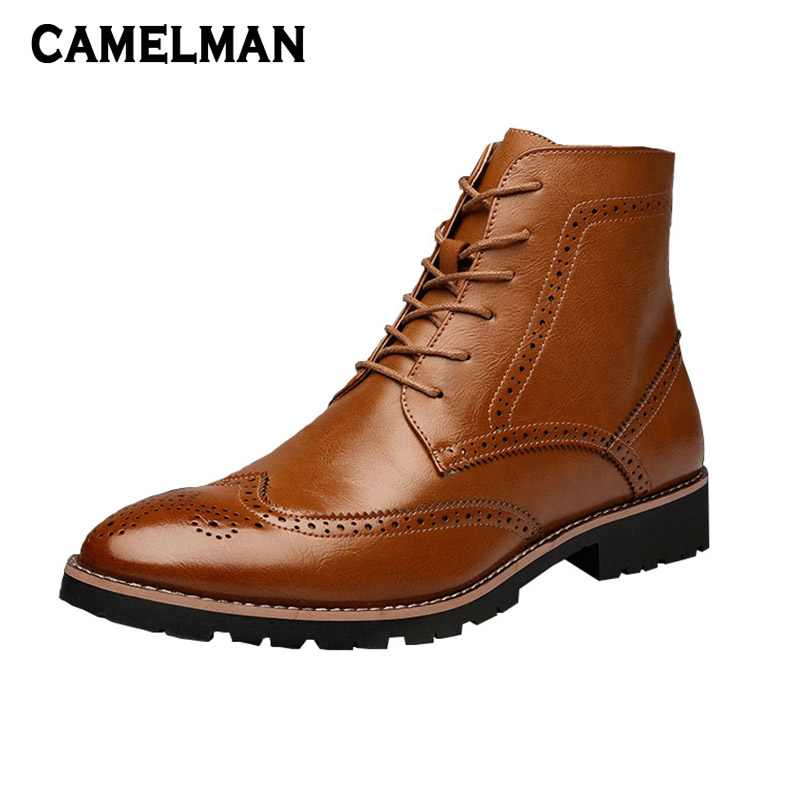 Men Fashion Ankle Boots British Style Lace Up Leather Shoes Male Winter Gentlemen Chelsea Shoes Pointed Toe Shoes for Adult Men italians gentlemen пиджак
