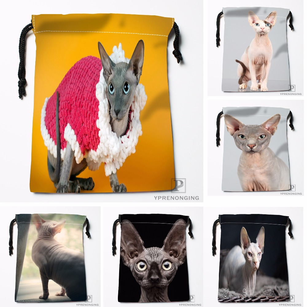 Custom Canadian Hairless Cat Drawstring Bags Travel Storage Mini Pouch Swim Hiking Toy Bag Size 18x22cm#0412-04-226