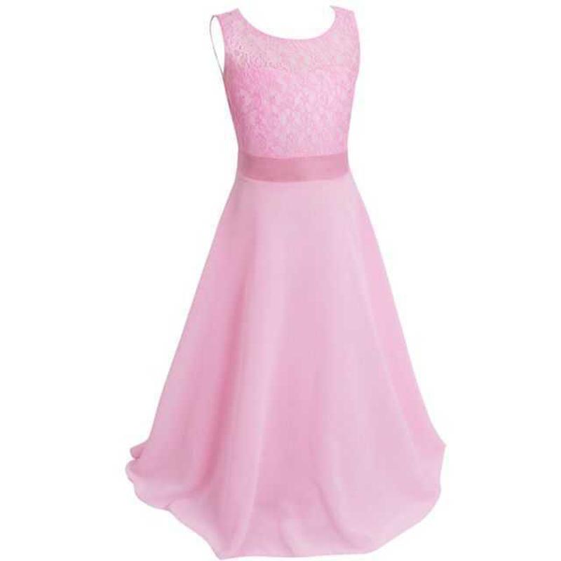 Summer Girls Dress Chiffon Sleeveless Infant Long Dress O Neck Girl Wedding Dresses Lace Kids Party Clothes Children Clothing (3)