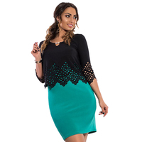 Plus Size Women Two Piece Set Top Sling Dresses Hollow Out 1 2 Sleeve Office Lady