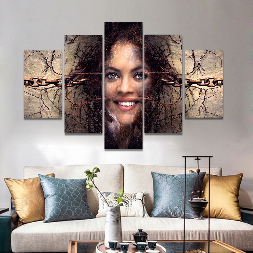 Unframed Canvas Painting Smiling Woman Locked By Chain Rattan Prints Wall Pictures For Living Room Wall Art Decoration