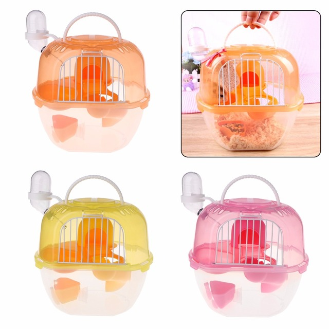 Hamster Cage Outdoor Portable Travel Double Layer Living House Carrying Plastic Habitat Cages Small Animal Supplies C42