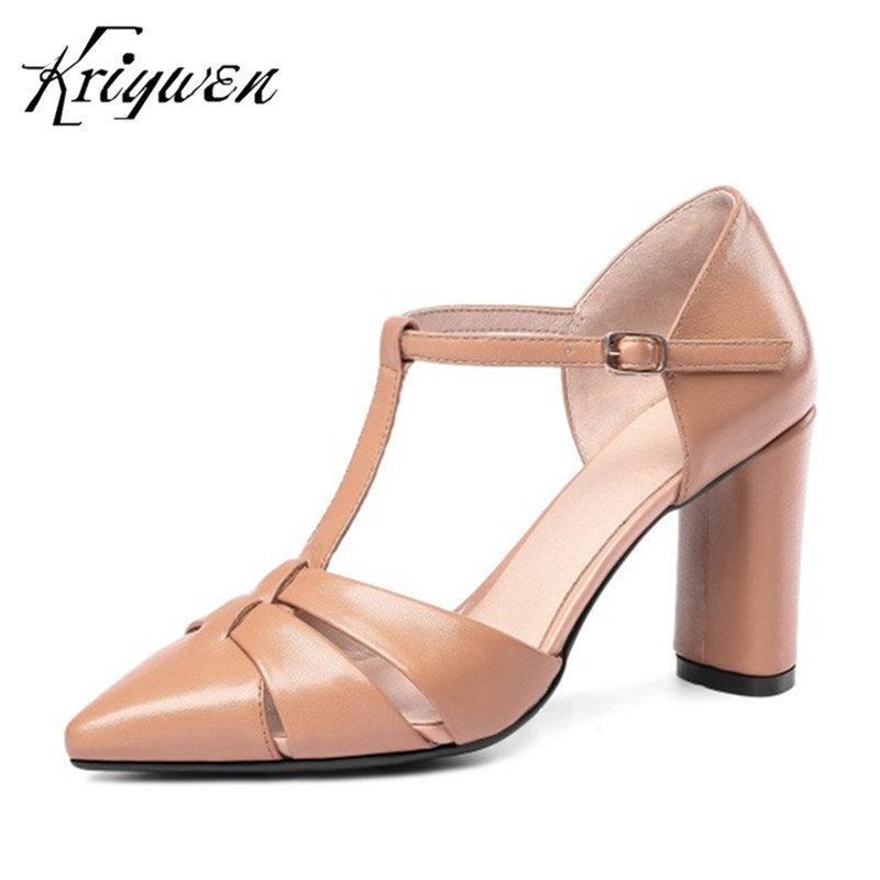 Genine Leather T-strap Woman Party Shoes Buckle Decoration Wedding Pumps High Heels Female Pointed toe Fashion Brand Footwear women pumps flock high heels shoes woman fashion 2017 summer leather casual shoes ladies pointed toe buckle strap high quality