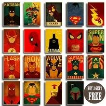 Retro Anime Superhero Wall Sticker Batman Captain America Flash Superman Spiderman iron Man Minimal Heroes Comics Art Poster