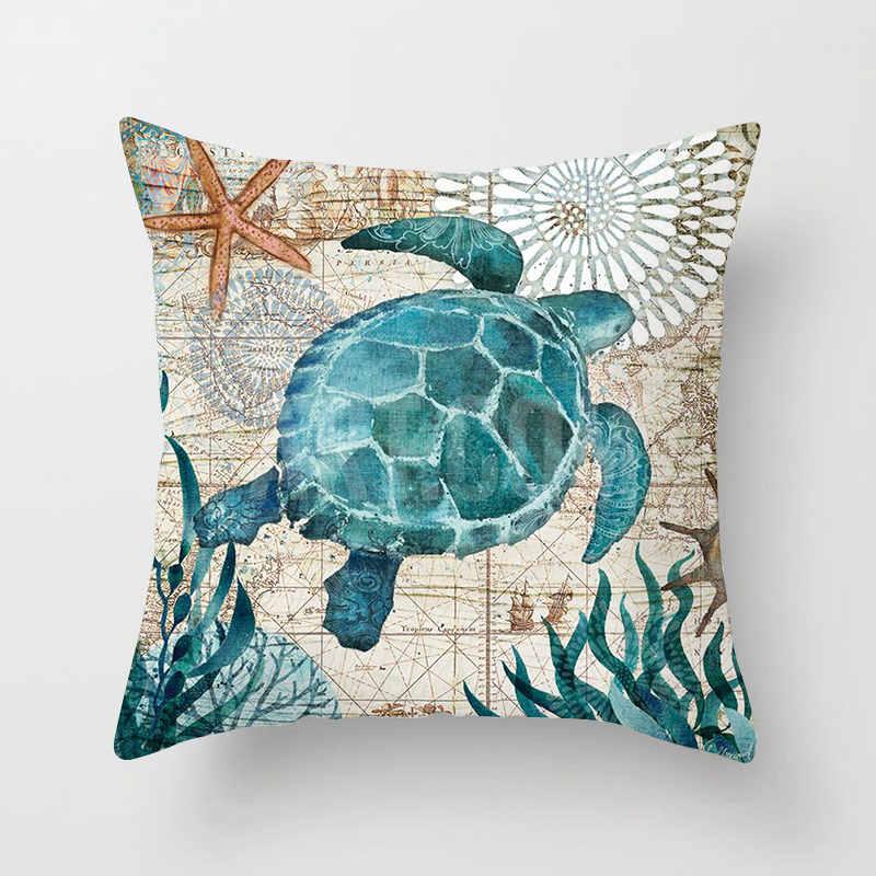 Marine Gurita Sea Turtle Vintage Sarung Bantal 21 Gaya Cat Air Hewan Sofa Kamar Dekorasi Sarung Bantal 44X44 Cm