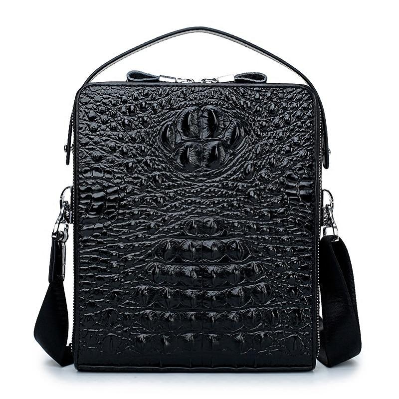 Genuine Leather crocodile pattern small briefcase men bag leather Messenger shoulder bag diagonal bag male totes