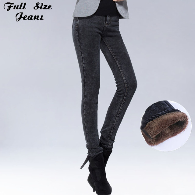 48cbf50a719 Winter Warm Extra Long Black Fleece Pencil Jeans For Tall Girl 34