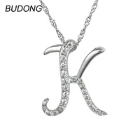 BUDONG Real 925 Sterling Silver Slide Pendant for Women Fine Jewelry Initial Letter K for Kiss Design Pendant without Necklac