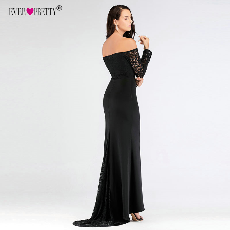 Black Long Sleeve Evening Gown Ever Pretty EZ07611 Elegant Off Shoulder Long Formal Party Gowns With Train Robe De Soiree 2020