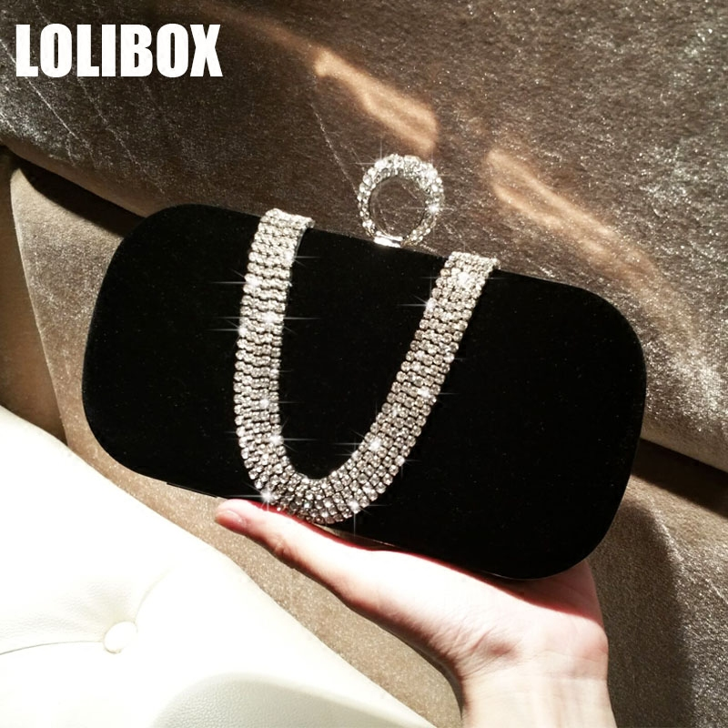LOLIBOX clutches women day clutch purse party chain shoulder bags new velvet diamond ring package women clutch evening bag цена